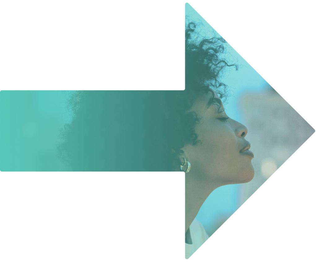 Our services arrow image shows an aqua coloured arrow with a picture of a woman within it, with eyes closed and a smile on her face.